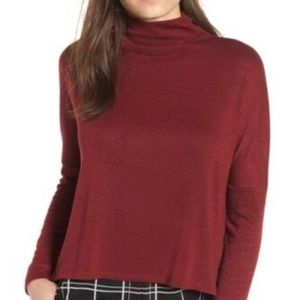 ** Leith Nordstrom Funnel Neck Melange Top NWT